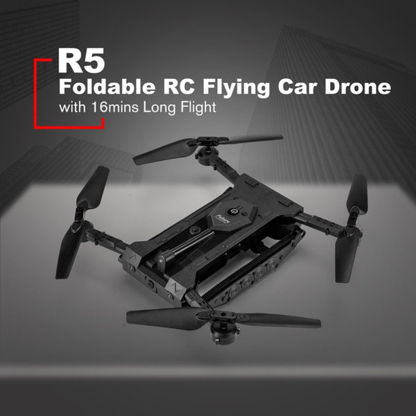 R5 Foldable RC Flying Car Drone Toy Aircraft UAV with 720P HD WIFI FPV Camera 16mins Long Flight Altitude Hold RC Quadcopter