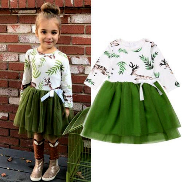 Christmas Green Dress.2019 Xmas Christmas Green Elk Baby Floral Ruffle Tutu Dresses Girls Kids Ruffle Dresses Long Sleeve Dress Childrens Cotton Dresses Cotton Dress From