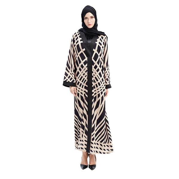 2018 Vendita calda delle donne abiti musulmani musulmano turco musulmano cardigan abito stampato con Pic Real