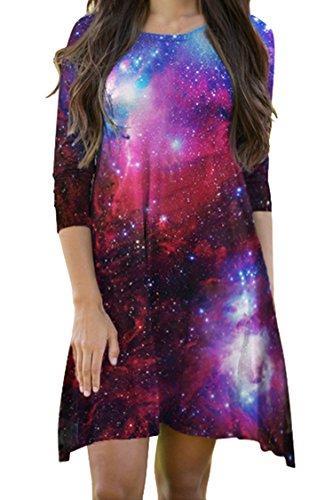 LaSuiveur Outer Space Galaxy vestido para meninas e mulheres