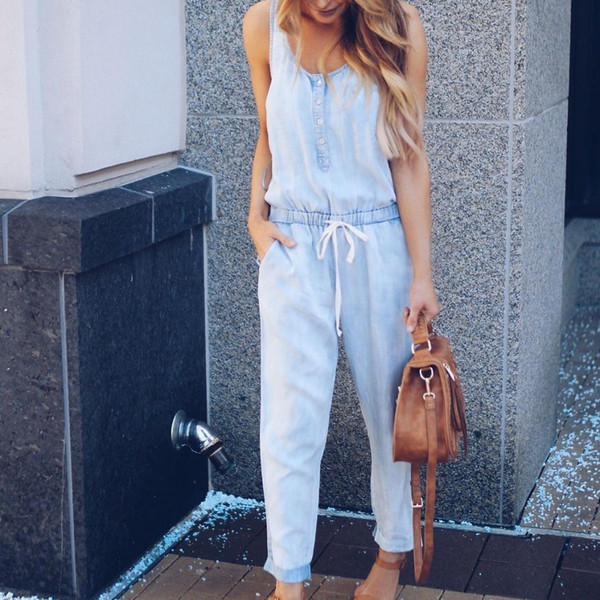 2019 Fashion Womens Playsuit Jeans Demin Drawstring Waist Strappy Long Sleeveless Jumpsuit High Street Female Blue Jean Overall