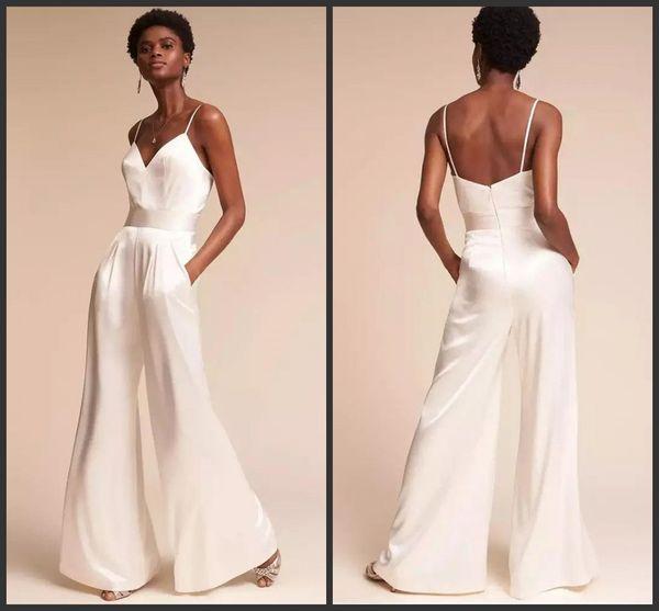 Neue Mode Weiß Spaghetti Strap Overalls Prom Kleider V-Ausschnitt Backless Pantsuit Celebrity Abendkleider Plus Size Cocktail Party Kleid