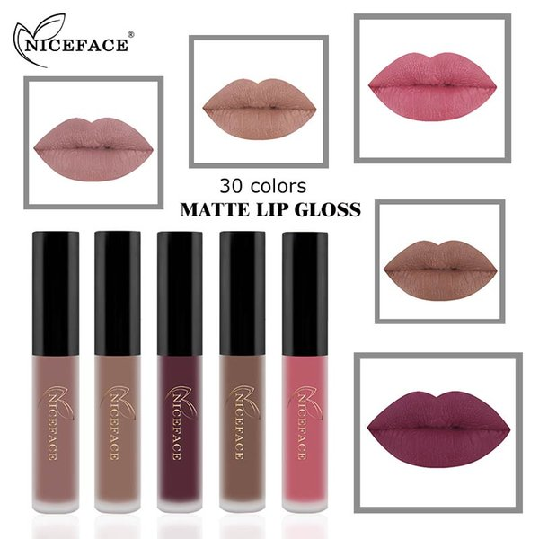 NEW NICEFACE 30 Colors French Nude Color Matte Lip Gloss Cosmetics Matt Lipstick Waterproof Long Lasting Maquiagem Make Up Lips