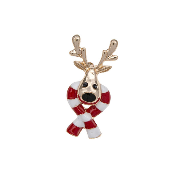 Christmas Cute Smiling Elk Reindeer Scarf Gold Diamond Drip Oil Brooch Sweater Decoration Pin Gift