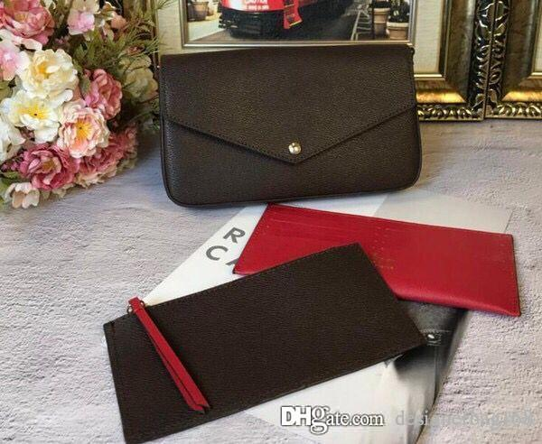 best selling Hot Fashion Classic Women Designer Bag Print Flowers 3 in 1 Chain Bag Genuine Leather Card Wallet Crossbody Purse Shoulder Messenger Wallets