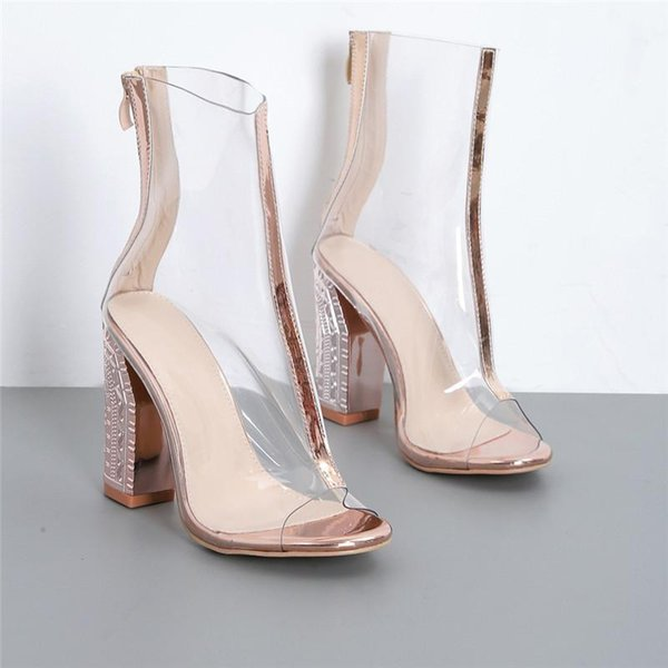 cost charm newest 100% high quality Hot Sale 2019 Women 10.5cm High Heels Transparent Thick Block Heels Sandals  Cool Champagne Gold Silver Chunky PVC Glossy Pumps Heels Shoes Online From  ...
