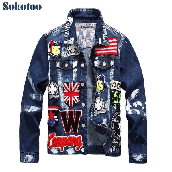 Sokotoo Men's Flag Letters Patch Design Painted Denim Jacket Slim Fit Skull Badge Patchwork Long Sleeve Jean Coat Outerwear Q190529