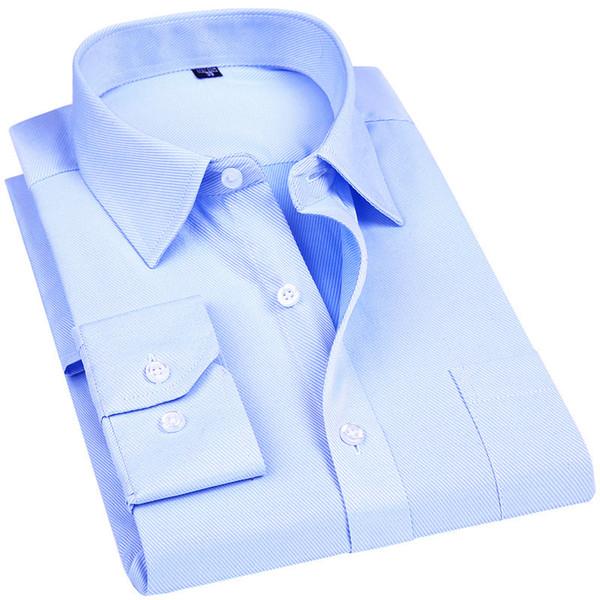 Los hombres visten camisa de manga larga a estrenar diseñador de moda de alta calidad sólido ropa masculina ajustada camisas de negocios blanco azul negro 4xl Y190506