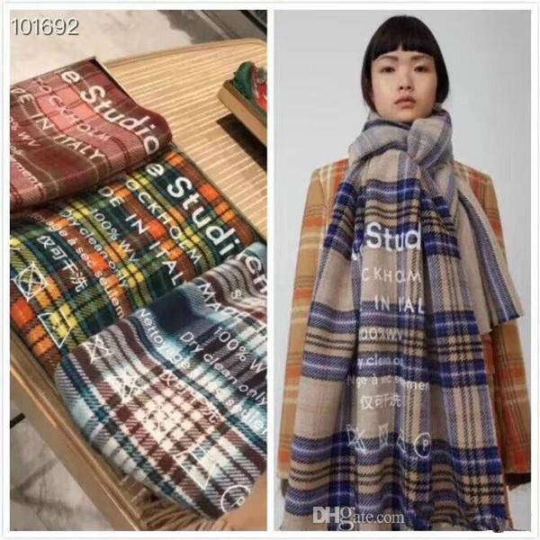 Bufanda de diseñador de las mujeres de la bufanda de la marca de lujo gruesa cachemira bufandas 2018 mujeres del invierno del otoño largo Wraps 3 colores RT0002