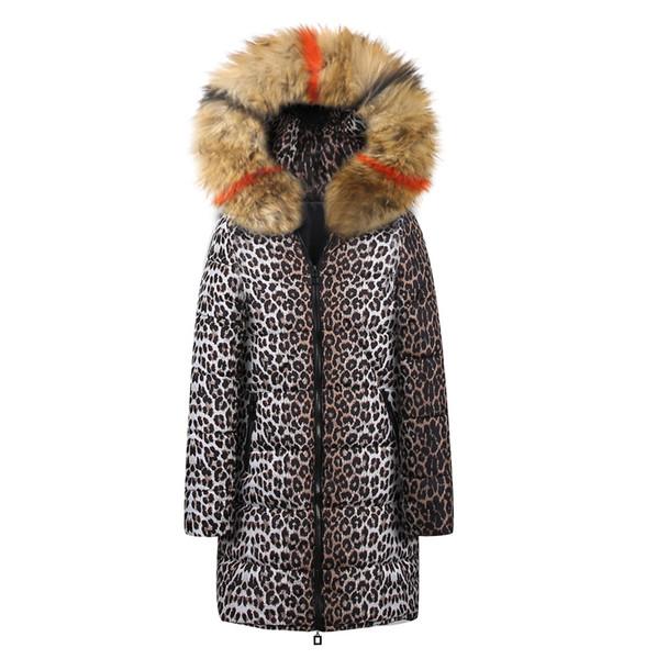 Womens Winter Long Down Cotton Leopard Print Parka Hooded Coat Jacket Outwear #XTN