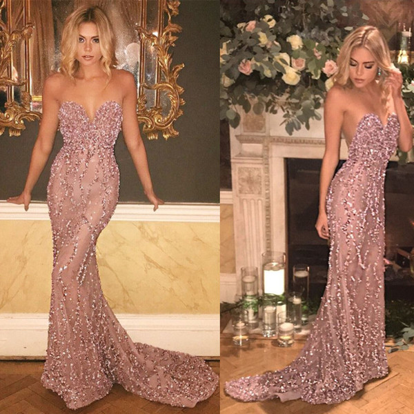 Sparkly Sweetheart Mermaid Prom Dresses Long With Sequins Beaded Dusty Pink Glitter Evening Formal Gowns Celebrity Party Dress Plus Size