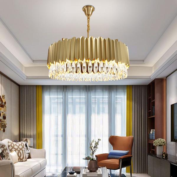 Современной роскошь круглого кристалл кулон освещение люстры золотые люстры лампа прямоугольник подвесных светильников для гостиной и столовой спальни