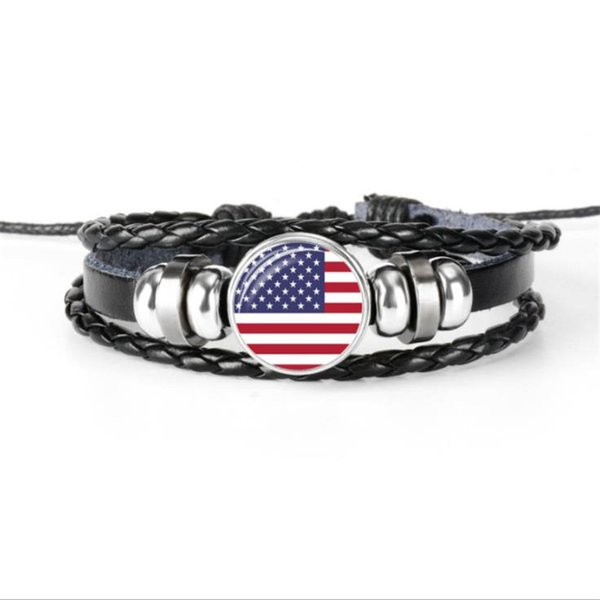 USA National Flag World Cup Football Fan Time Gem Glass Cabochon Button Bracelet Multilayer Leather Rope Beaded Female Male Jewelry New Gift