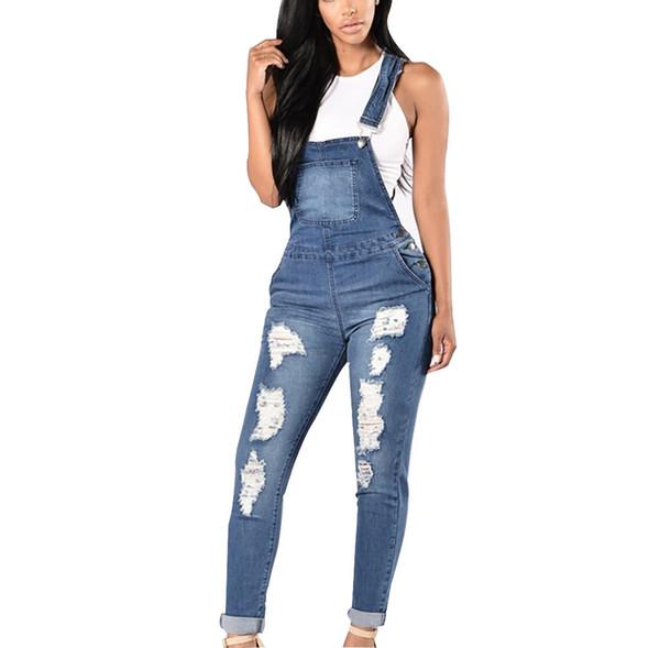 Women Jeans Womens Jumpsuit Denim Overalls Spring Autumn Casual Ripped Hole Pants Jumpsuit Slim Jean Pants