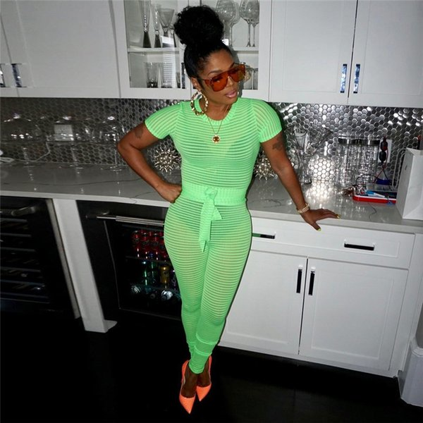 2019 Hot Sale Short Sleeve Bandage Rompers Womens Jumpsuit Sexy Tight Fitting Trousers Bodycon Jumpsuit Hollow Out Ladies Romper