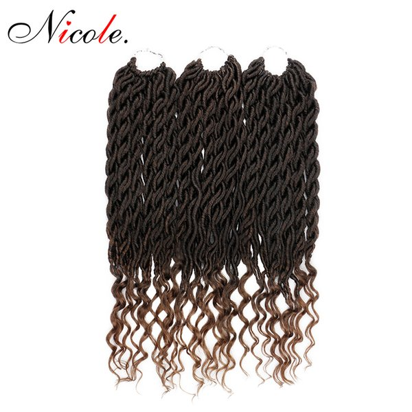 Nicole Synthetic Soft Faux Locs Curly Crochet Braiding Hair Extensions 22inch 70g/pack 24strands/pack Goddess Hairstyle