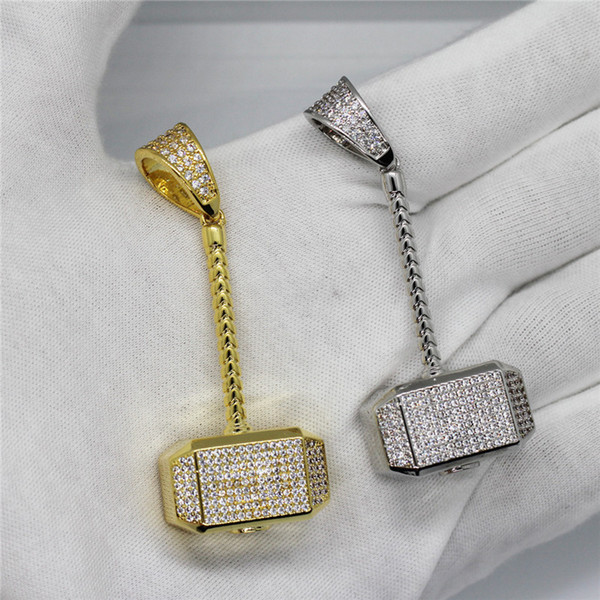 The Avengers Quake Hammer Collar Colgante Iced Out Full Zircon Gold Silver Plated Mens Hip Hop Diseñador de Joyería