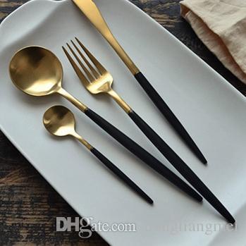 8 farbe Geschirr Set top Qualität 304 Edelstahl Abendessen Messer gabel suppe kaffee eis Löffel teelöffel Besteck besteck sets h123