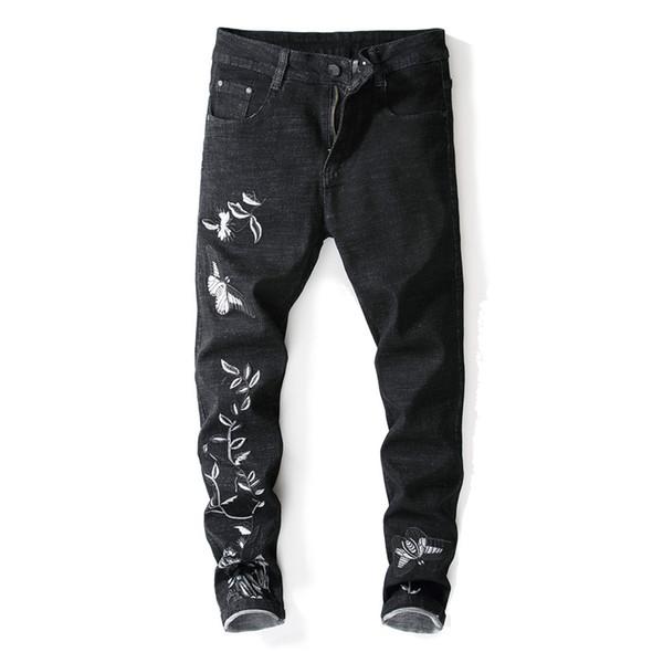 2019 Nuevo diseñador de moda para hombre slim fit jeans para hombre lápiz pantalones de mezclilla bordado negro pantalones pantalones stretch street jeans
