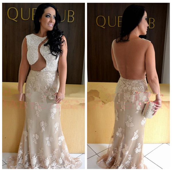 2019 Jewel Mermaid Lace Appliques Slim Evening Dresses Modest Beaded Pearls Top Formal Women Prom Party Gowns Custom European Style Spring