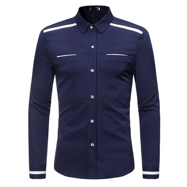 Slim Fit Shirt Mens Dress Shirts Long Sleeve Casual Tops Korean Style Solid Color Summer Spring Autumn Clothes 2019