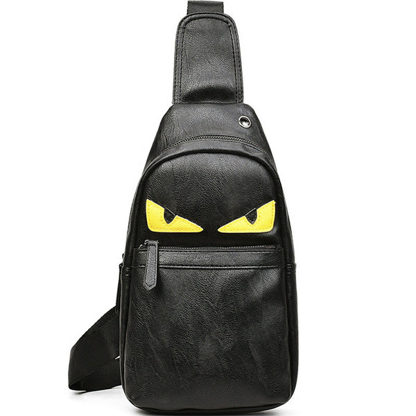 Monster day pack Devil eye chest bag Black pu leather portable sling pouch Leisure bosom case Sport backpack Outdoor daypack