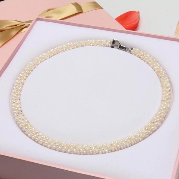 JNMM grande grado con collana di perline a catena bianca con desiderio d'amore perla d'acqua dolce gioielleria raffinata per donne eleganti