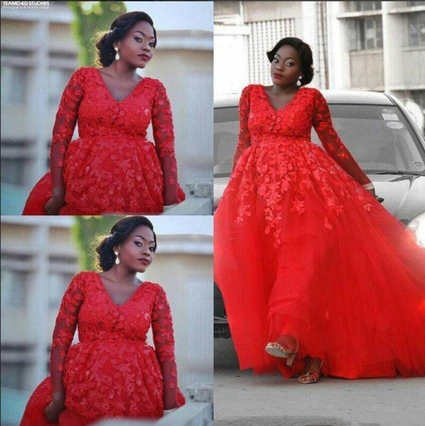 2020 African Prom Dresses A Line V Neck Lace Applique Tulle Evening Gowns Long Sleeve Sweep Train Formal Party Gowns