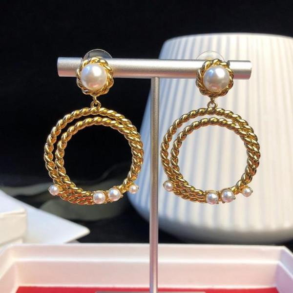 Женщины Ювелирные Изделия Новый Дизайнер ДРАГОЦЕННЫЕ Ювелирные Изделия Покрытием 18 К Золото Перл Твист Кольцо Кулон Серьги Кисточкой подарок