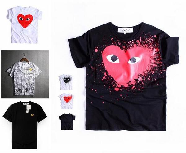 2018 Designer T Shirt Mens New Fashion Brand Plays Red Heart Men Lovers Impreso T Shirt Hip-hop Solid de manga corta para mujer Tops 2134545