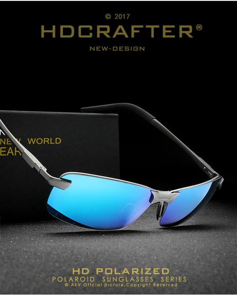 Novo estilo Polarized HD Óculos De Sol Al Mg liga quadro Anti-Reflexo Óculos de Condução ultravioleta-prova Ao Ar Livre ciclismo filme Cor óculos de Sol