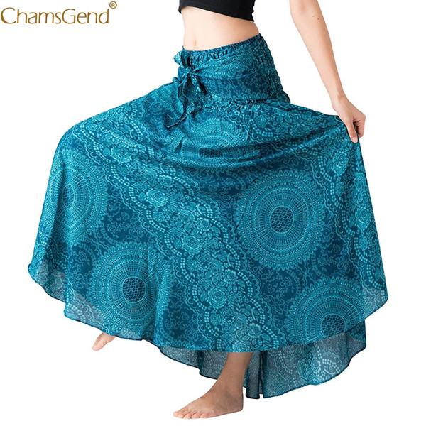 Saias boêmio das mulheres plus size saias longas para as mulheres Longo Hippie boêmio Boho Cigana Floral Halter Saia Algodão Apr