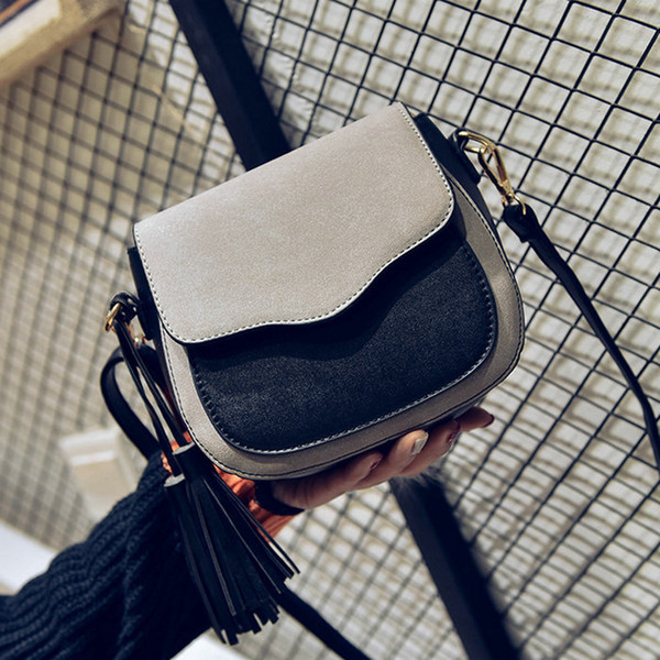 JIULIN 2019 nouveaux sacs à main dame tendance, rabat simple rétro, sac à bandoulière mode, sac à bandoulière femme avec ornements à pampilles.