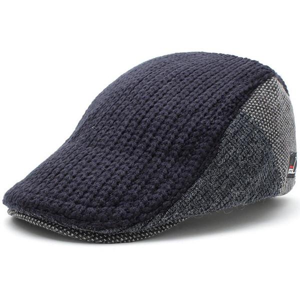 Men's Knitted Wool Duckbill Hat Warm Newsboy Flat Scally Cap Warm Ivy Cabbie Drving Hunting Golf Women Winter Gatsby Snap Vintage Beret 8228