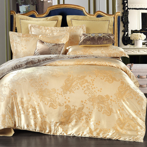 4PCS European Satin Jacquard Bedding Suite Set Duvet Cover Purple Gold Queen Luxury Polyester Embroidered Duvet Cover5