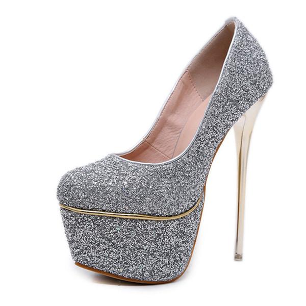 Sexy Sequined Stiletto Women's Pumps shoes high heels 16 cm Fashion Super high heel shoes Waterproof Platform shoes