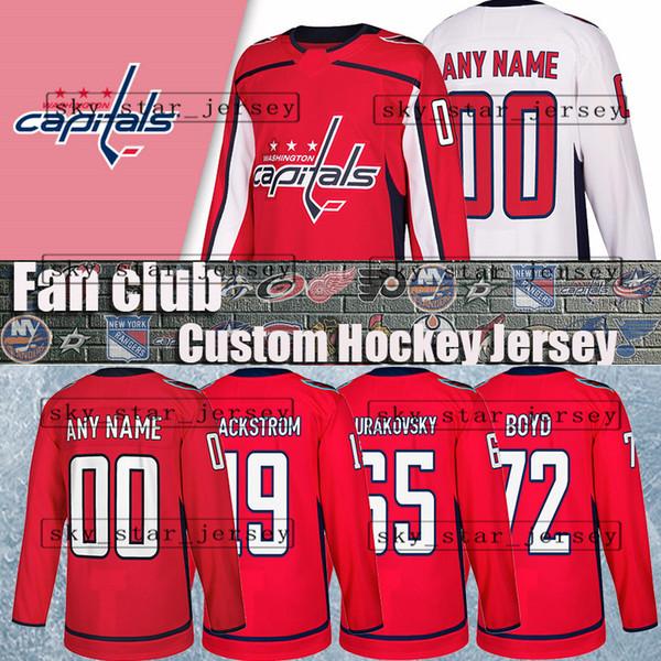 reputable site b40c6 d450e 2019 Custom Hockey Jerseys Washington Capitals Jersey 19 Nicklas Backstrom  72 Travis Boyd 65 Andre Burakovsky 74 John Carlson 10 Brett Connolly From  ...