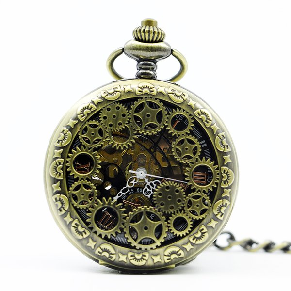 Fashion Luxury Steampunk Bronze Mechanical Pocket Watch With FOB Chain Hand Wind Skeleton Hollow Clock For Men Women PJX1301