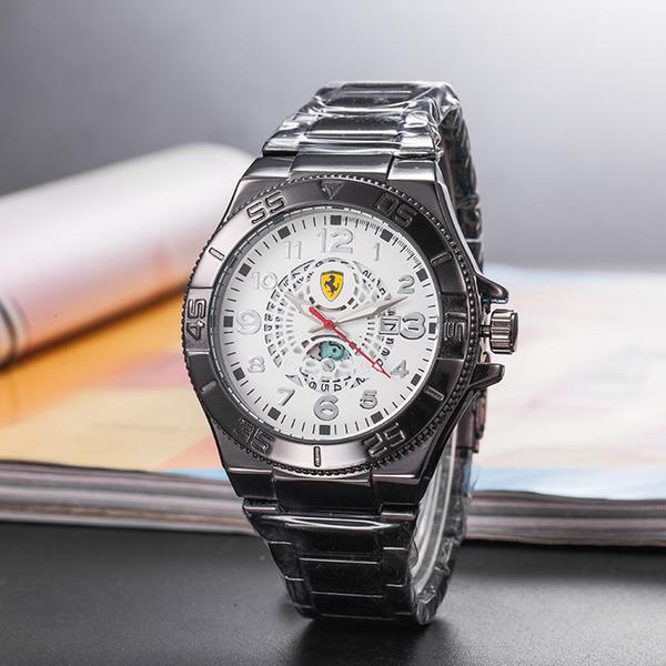 Mejor la venta de la marca de coches deportivos de lujo de los hombres casuales relojes de cuarzo relojes de los hombres de negocios de acero relojes regalos de Navidad