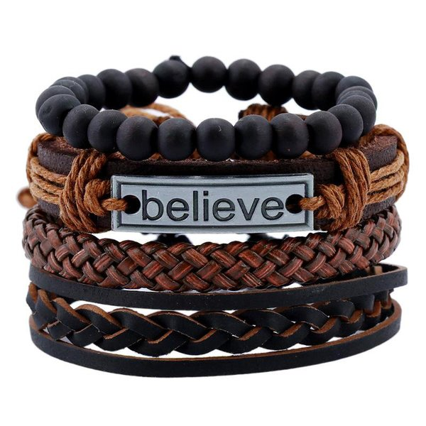Believe Bracelet Set Believe Tag Braid Leather Multilayer Bracelet Wrap Bracelets Wristband Fashion Jewelry K3426