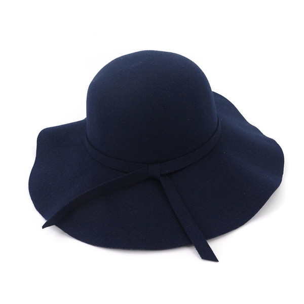 Fashion Women Lady Wide Brim Wool Felt Fedora Floppy Hats Vintage Female Girl Round Fedoras Cloche Cap Trilby Bowler Hat