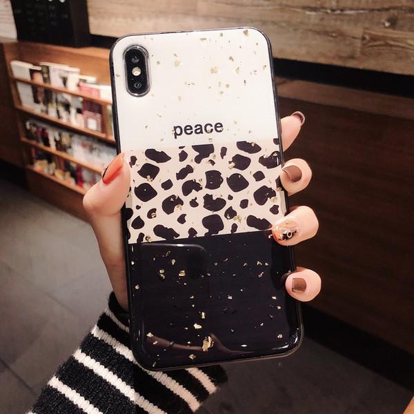 Coque TPU Bling scintillant léopard brillant TPU Coque Arrière Coque Love Heart Shell pour iPhone XR XS Max X 8 7 6