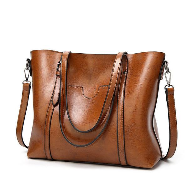 New Women Handbags Oil Wax Leather Large Capacity Female Shoulder Bags Solid Color Practical Fashion Vintage Corssbody Bag
