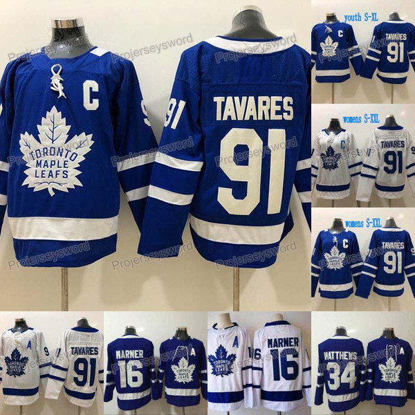 top popular 2019 New 91 John Tavares Captain C Patch Toronto Maple Leafs Jersey 16 Mitch Marner 34 Auston Matthews Mens Womens Youth Kids Hockey Jerseys 2019