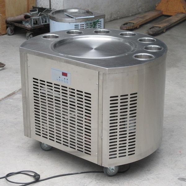 Free shipment new design single round pan with 7 buckets fried ice cream machine/fry ice cream rmachine/roll ice cream machine, auto defrost