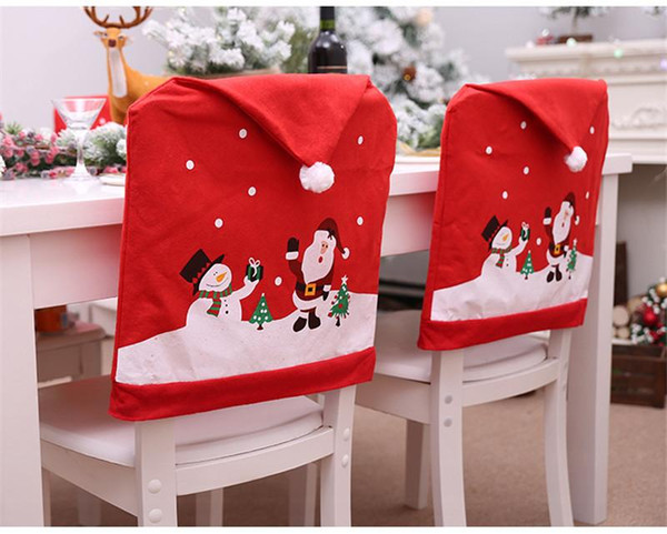 Christmas Desorstions Chair Covers Santa Claus Snowman Printed Home Chair Cover Xmas Removable Slipcovers Seat Covers Party Ornaments Sale