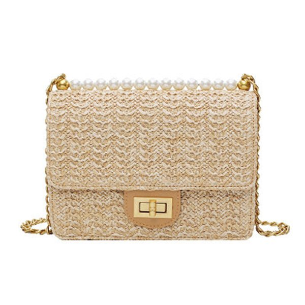 Fashion Rattan Bag Leather Hardware Buckle Straw Bags Portable Bamboo Woven Bag Beach Holiday