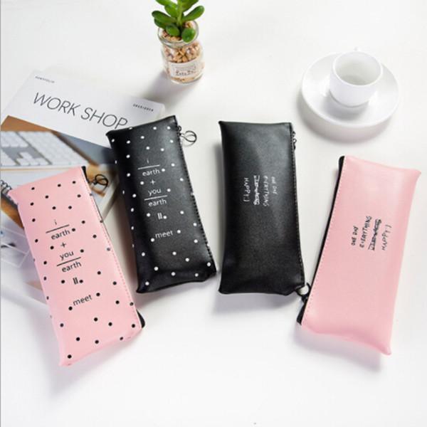 Simpatico astuccio rosa per ragazze Kawaii nero bianco Dot Pu Borsa in pelle Borsa per cancelleria Cartoleria per ufficio Escolar Papelaria