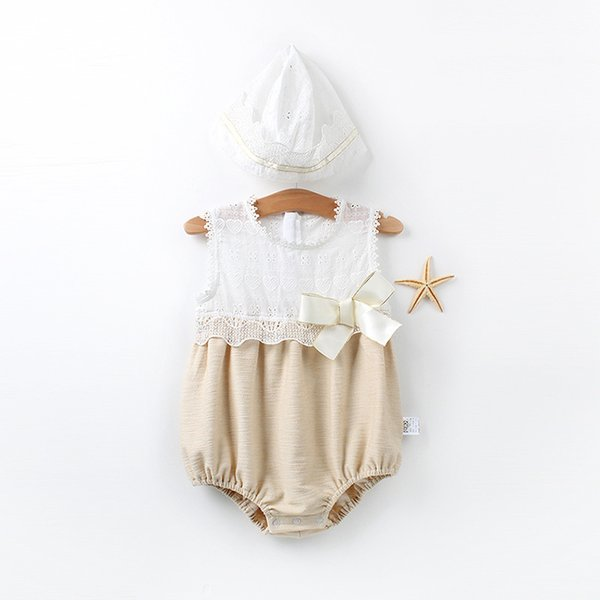 Baby Romper Vintage Style Girls Playsuit Lace Bow Floral Baby Patchwork White Rompers with Hat 2pcs Suit Baby Girl Clothes