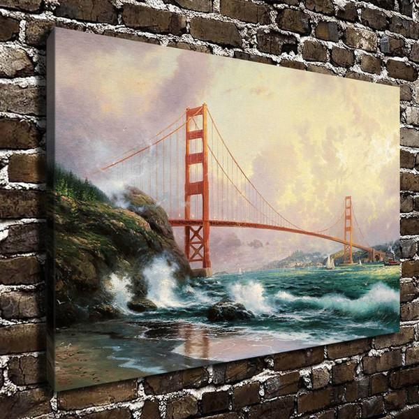 "(Thomas Kinkade) Golden Gate Bridge San Francisco,1 Pieces Canvas Prints Wall Art Oil Painting Home Decor (Unframed/Framed) 16x24"""